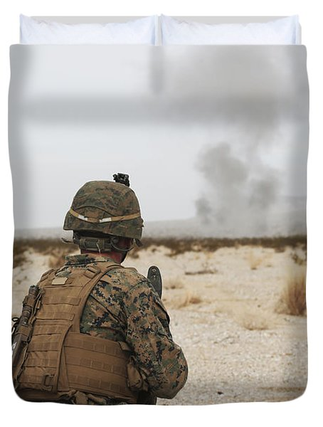 U.s. Marine Provides Security As Part Duvet Cover by Stocktrek Images