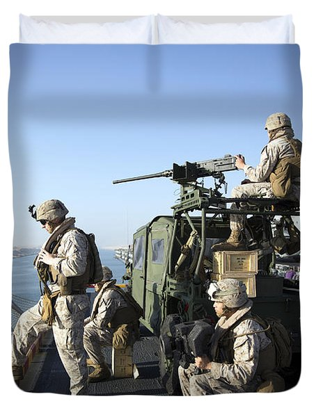 U.s. Marines Stand Armed Watch Duvet Cover