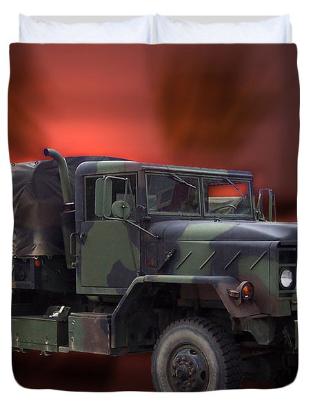 Us Military Truck Duvet Cover by Thomas Woolworth