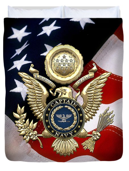 U. S.  Navy Captain - C A P T  Rank Insignia Over Gold Great Seal Eagle And Flag Duvet Cover