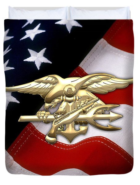 U. S. Navy S E A Ls Emblem Over American Flag Duvet Cover by Serge Averbukh