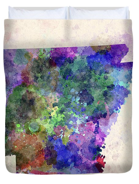Us State In Watercolor Duvet Cover by Pablo Romero