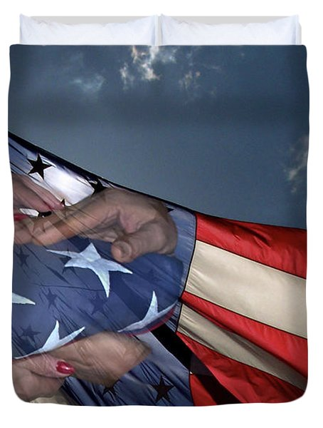 Us Veterans Burial Flag 3 Panel Composite Digital Art Duvet Cover by Thomas Woolworth
