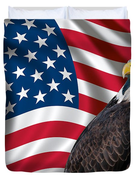 Duvet Cover featuring the photograph Usa Flag And Bald Eagle by Carsten Reisinger