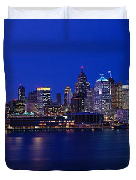 Usa, Michigan, Detroit, Night Duvet Cover