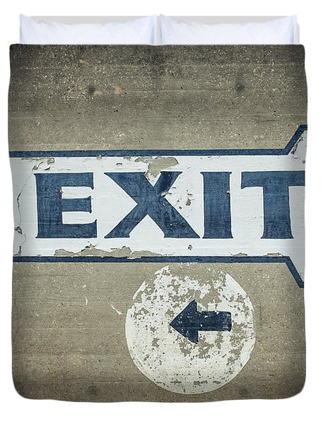 Usa, Mississippi, Exit Sign In Great Duvet Cover by Dosfotos