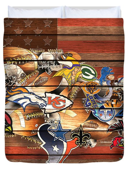 Usa Nfl Map Collage 10 Duvet Cover