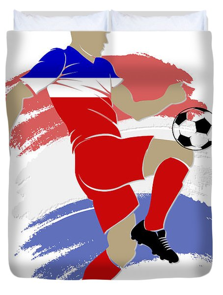 Usa Soccer Player Duvet Cover