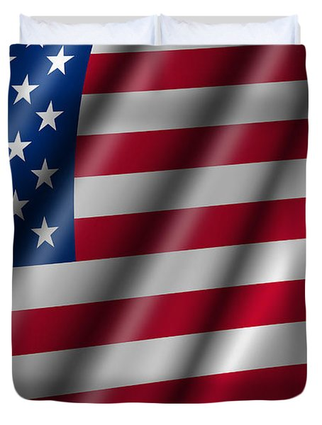 Usa Stars And Stripes Flying American Flag Duvet Cover