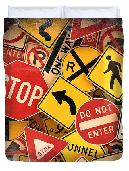 Duvet Cover featuring the photograph Usa Traffic Signs by Carsten Reisinger