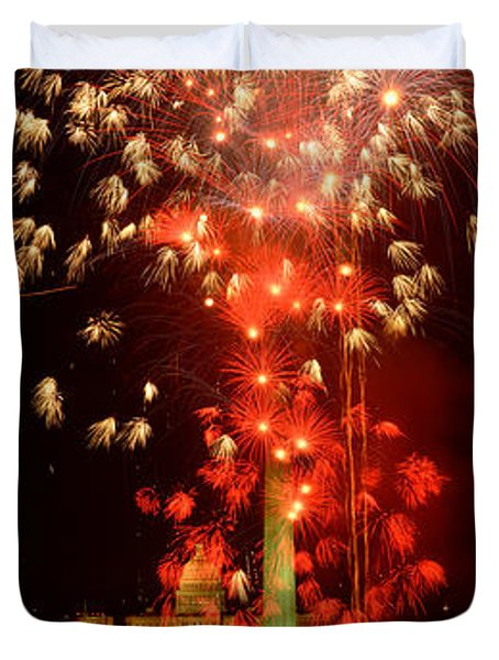 Usa, Washington Dc, Fireworks Duvet Cover