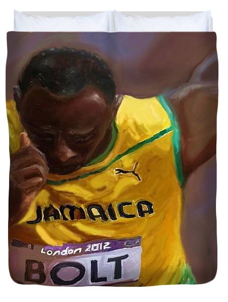 Duvet Cover featuring the painting Usain Bolt 2012 Olympics by Vannetta Ferguson