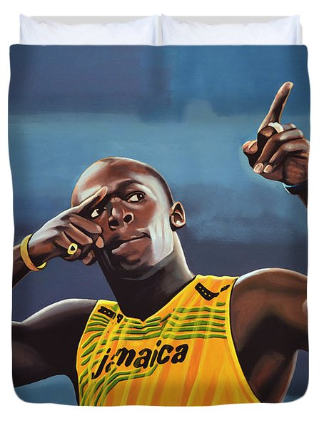 Usain Bolt Painting Duvet Cover