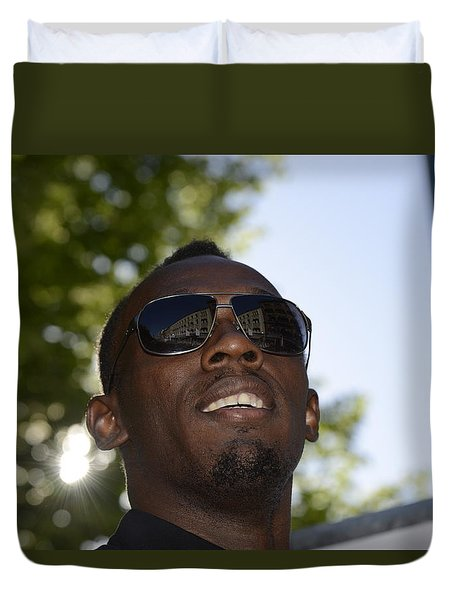 Duvet Cover featuring the photograph Usain Bolt - The Legend 1 by Teo SITCHET-KANDA