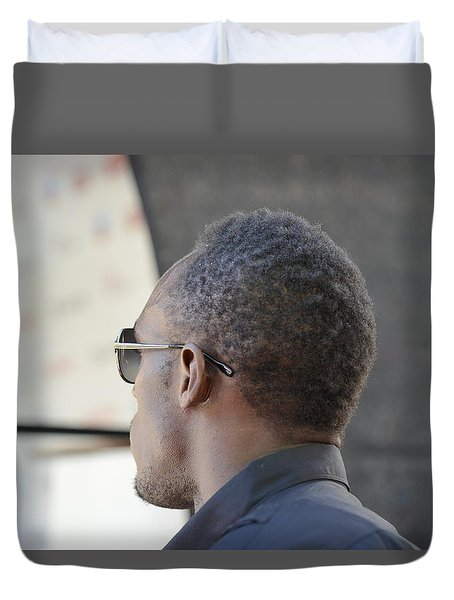 Duvet Cover featuring the photograph Usain Bolt - The Legend 2 by Teo SITCHET-KANDA