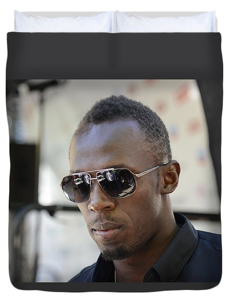 Duvet Cover featuring the photograph Usain Bolt - The Legend 3 by Teo SITCHET-KANDA