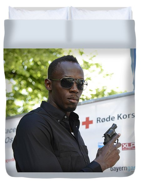 Duvet Cover featuring the photograph Usain Bolt - The Legend 4 by Teo SITCHET-KANDA