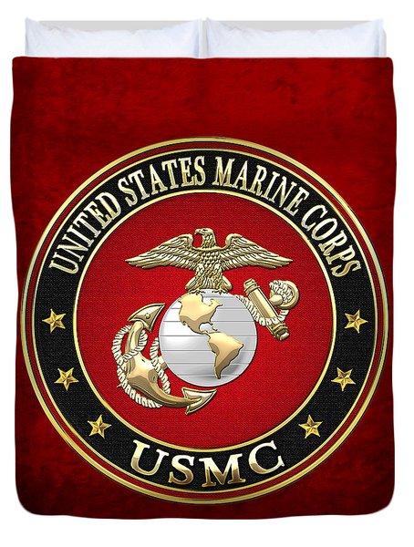 U S M C Eagle Globe And Anchor - E G A On Red Velvet Duvet Cover