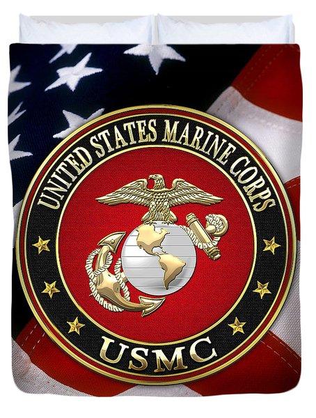 U S M C Eagle Globe And Anchor - E G A Over American Flag. Duvet Cover