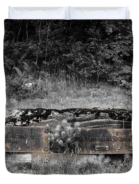 Duvet Cover featuring the photograph Usmc Veteran Headstone by Sherman Perry