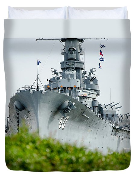 Duvet Cover featuring the photograph Uss Alabama 2 by Susan  McMenamin