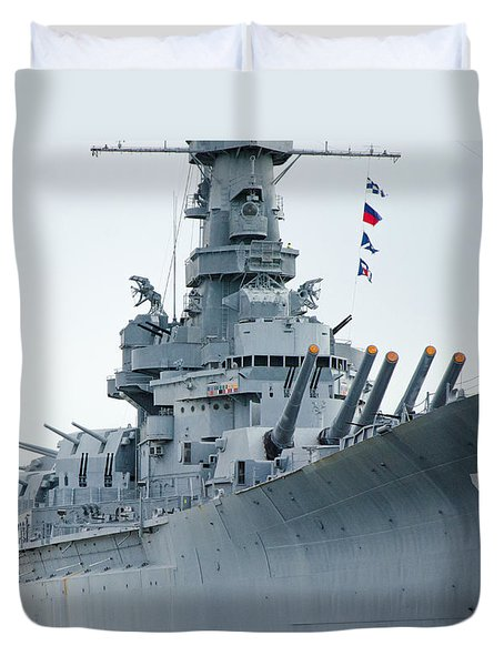 Duvet Cover featuring the photograph Uss Alabama 3 by Susan  McMenamin