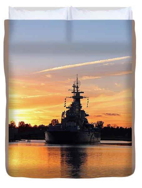 Duvet Cover featuring the photograph Uss Battleship by Cynthia Guinn