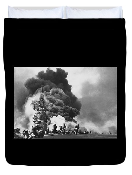 Uss Bunker Hill Kamikaze Attack  Duvet Cover by War Is Hell Store