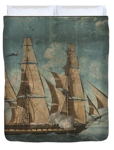 Duvet Cover featuring the painting Uss Constitution 1803 by Celestial Images