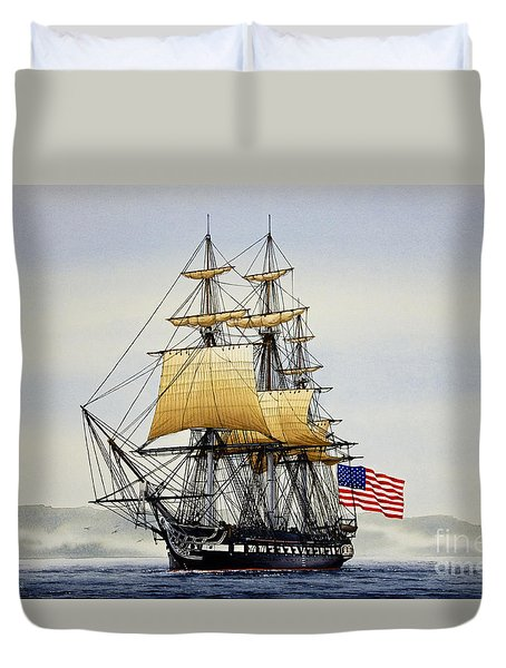 Uss Constitution Duvet Cover by James Williamson