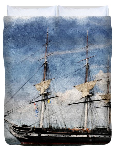 Uss Constitution On Canvas - Featured In 'manufactured Objects' Group Duvet Cover