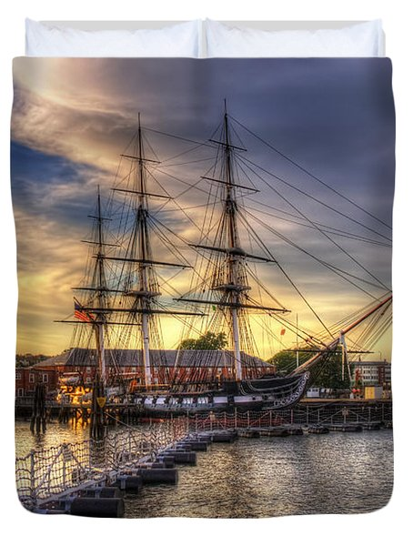 Uss Constitution Sunset - Boston Duvet Cover