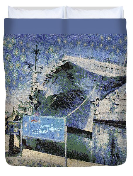 Duvet Cover featuring the painting Alameda Uss Hornet Aircraft Carrier by Linda Weinstock