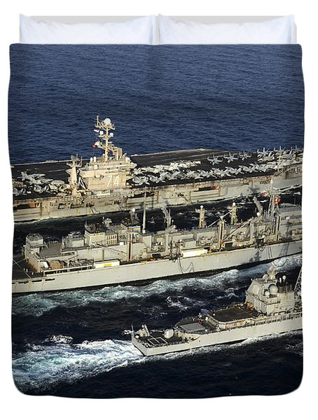 Uss John C. Stennis, Uss Mobile Bay Duvet Cover by Stocktrek Images