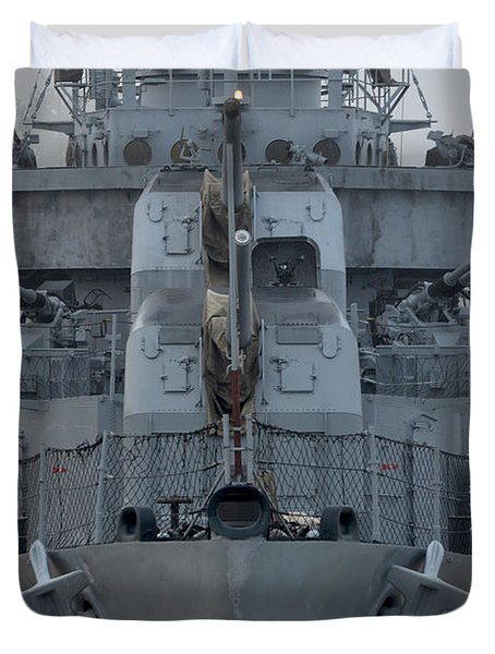 Uss Kidd Dd 661 Front View Duvet Cover by Maggy Marsh