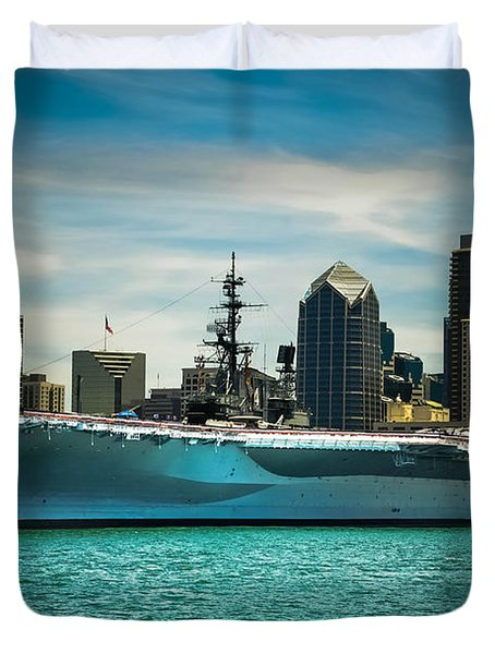 Uss Midway Museum Cv 41 Aircraft Carrier Duvet Cover by Claudia Ellis