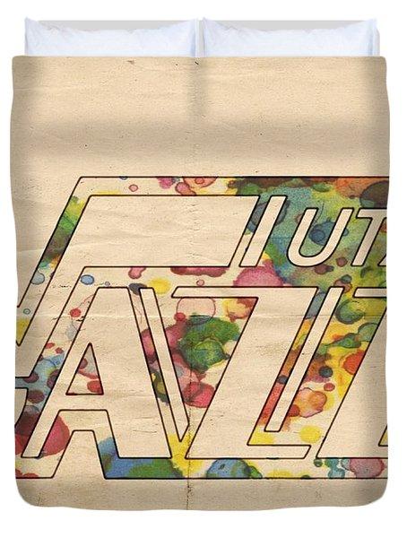 Utah Jazz Retro Poster Duvet Cover by Florian Rodarte