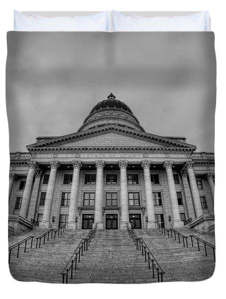 Utah State Capital Bw Duvet Cover