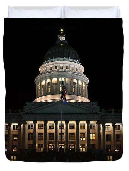 Duvet Cover featuring the photograph Utah State Capitol Front by David Andersen