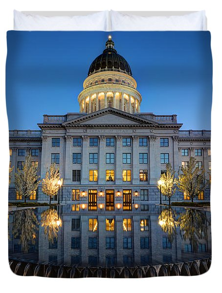 Utah State Capitol In Reflecting Fountain At Dusk Duvet Cover by Gary Whitton
