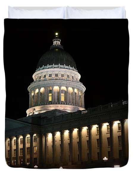 Duvet Cover featuring the photograph Utah State Capitol East by David Andersen