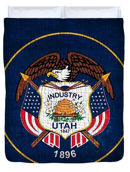 Utah State Flag On Canvas Duvet Cover by Dan Sproul