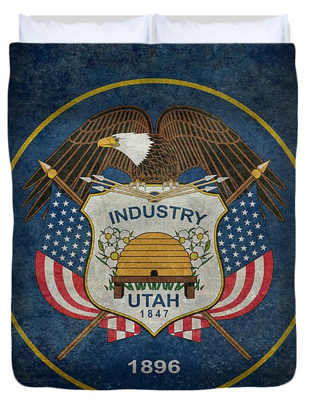 Utah State Flag Vintage Version Duvet Cover