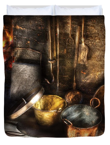 Utensils - Colonial Kitchen Duvet Cover by Mike Savad