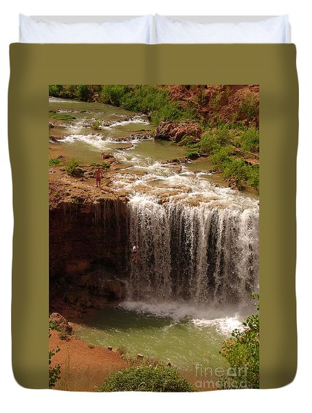 Vacation At Lower Navajo Falls Duvet Cover