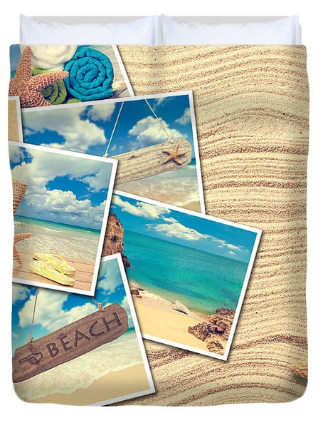 Vacation Postcards Duvet Cover by Amanda Elwell