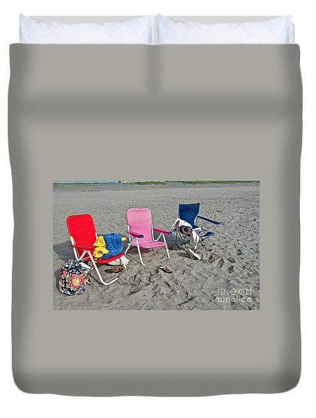 Duvet Cover featuring the photograph Vacation Time Beach Art Prints by Valerie Garner