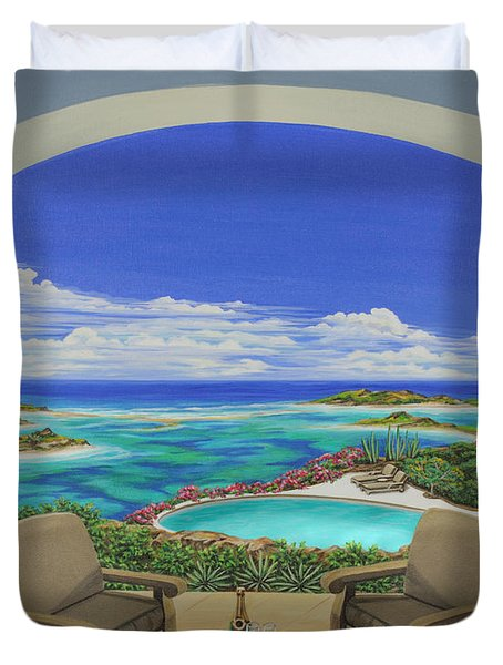 Duvet Cover featuring the painting Vacation View by Jane Girardot