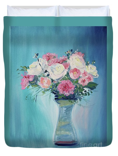 Duvet Cover featuring the painting Valentine Bouquet by Asha Carolyn Young