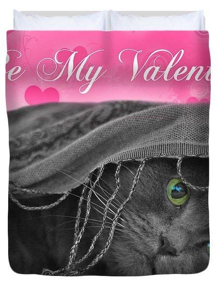 Valentine Cat Duvet Cover by Joann Vitali